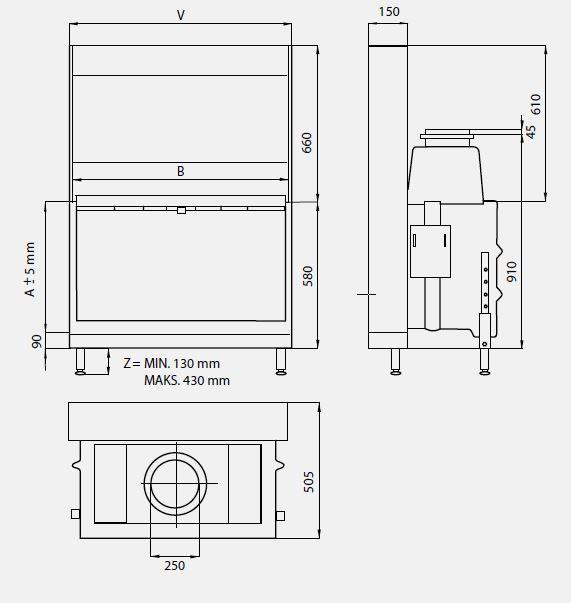wkład kominkowy LINEA H 1050 2.0 CI
